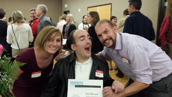Nick holding nomination certificate, with old friend Josh from Bethesda Lutheran Communities